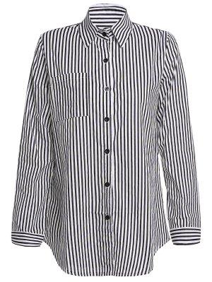 Stripe Turn Down Collar Camisa De Manga Comprida - Preto Xl