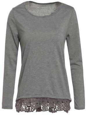 Grey Lacework Scoop Neck Camiseta De Manga Larga - Gris S