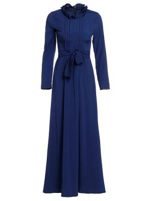Solid Color Stand Neck Long Sleeve Maxi Dress - Purplish Blue S