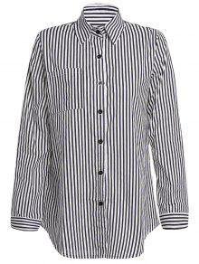 Stripe Turn Down Collar Long Sleeves Shirt - Black Xl