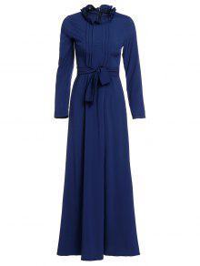 فستان أنيق وقوف الرقبة طويلة الأكمام بلون الصلبة نسائي ماكسي - الأرجواني الأزرق Xl
