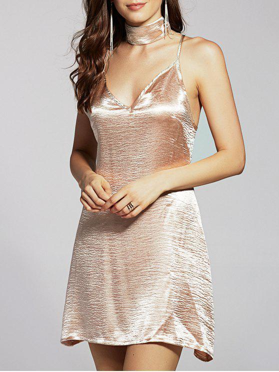 women Pure Color Cami Satin Dress - GOLDEN M