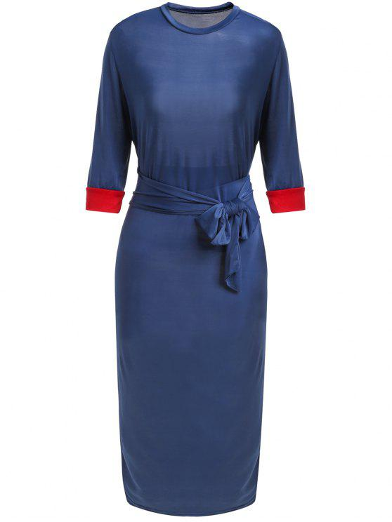shops Hit Color Stand Neck 3/4 Sleeve Dress - PURPLISH BLUE S