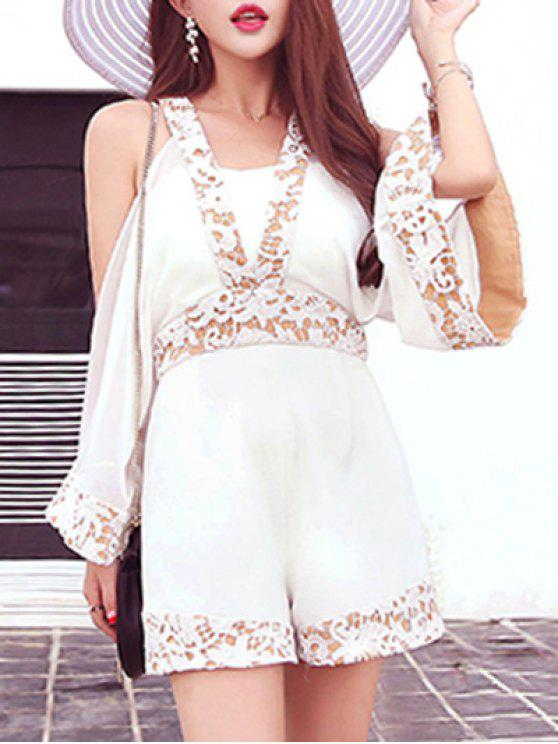 affordable Split Sleeve Lace Trim Playsuit - OFF-WHITE M