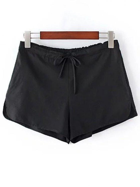 Pantalones cortos color puro del lazo de pierna recta - Negro Un tamaño(Montar tam