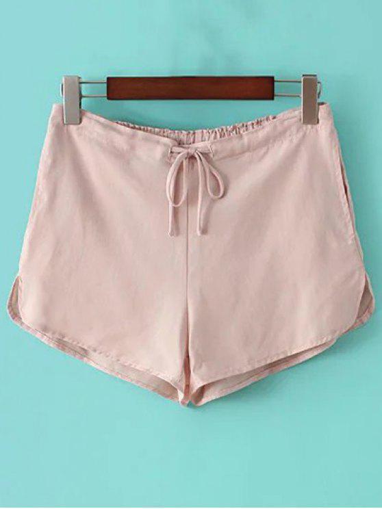 Pantalones cortos color puro del lazo de pierna recta - Rosa Un tamaño(Montar tam