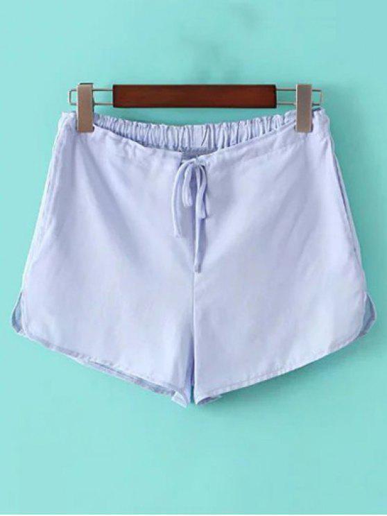 Pantalones cortos color puro del lazo de pierna recta - Azul Claro Un tamaño(Montar tam