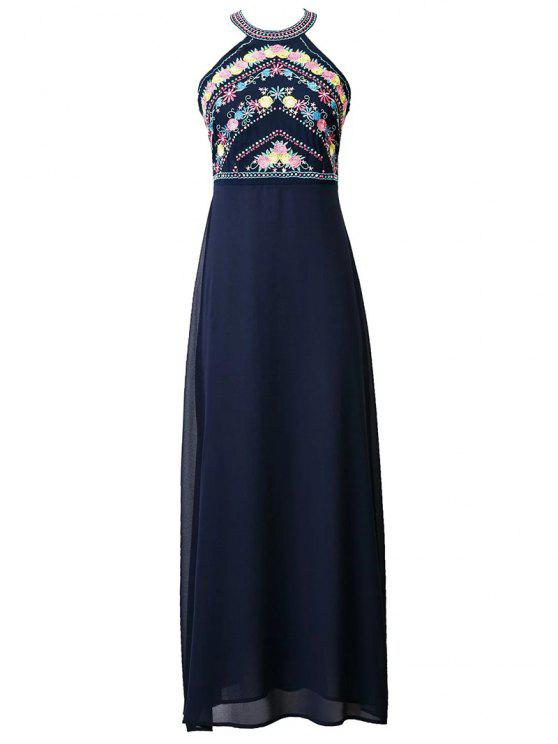529763209ac 28% OFF  2019 Floral Embroidered Round Neck Maxi Dress In DEEP BLUE ...