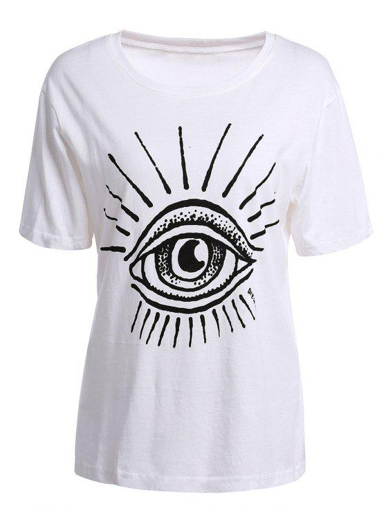 buy Eye Print Short Sleeve T-Shirt - WHITE S