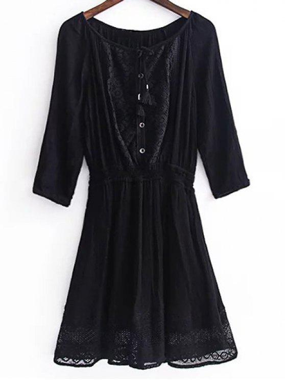 Lace Splice 3/4 Sleeve Black Dress - Preto L