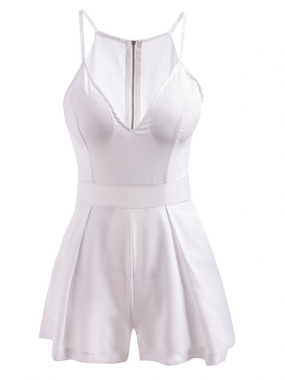 fashion Plunging Neck Solid Color Zippered Romper - WHITE L