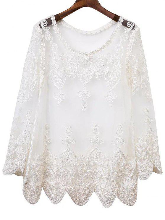 See-Through del bordado de vestir de manga larga - Blanco S