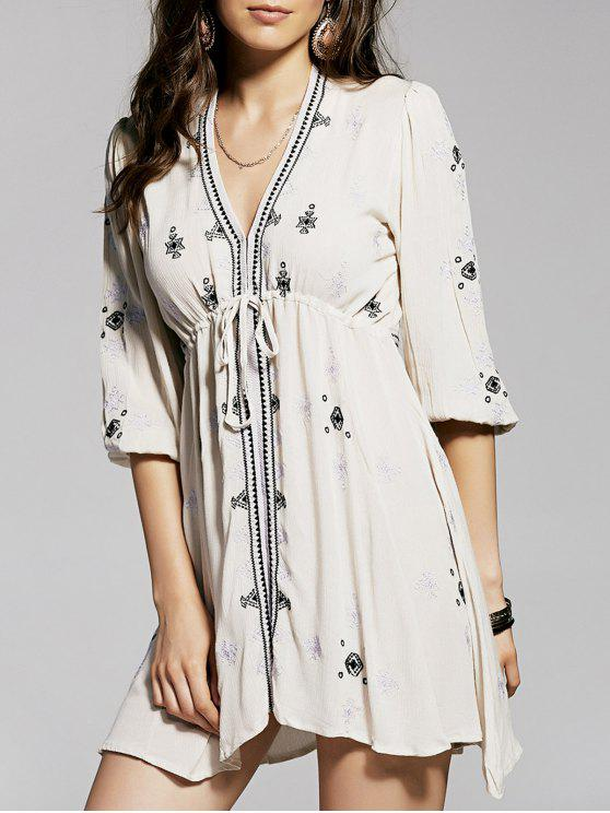 women Retro Embroidery Plunging Neck 3/4 Sleeve Dress - NUDE M
