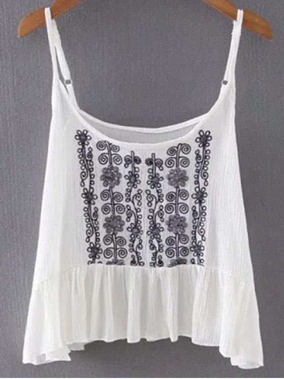 2646d665627bb 2019 Floral Embroidery Cami Ruffled Tank Top In WHITE M