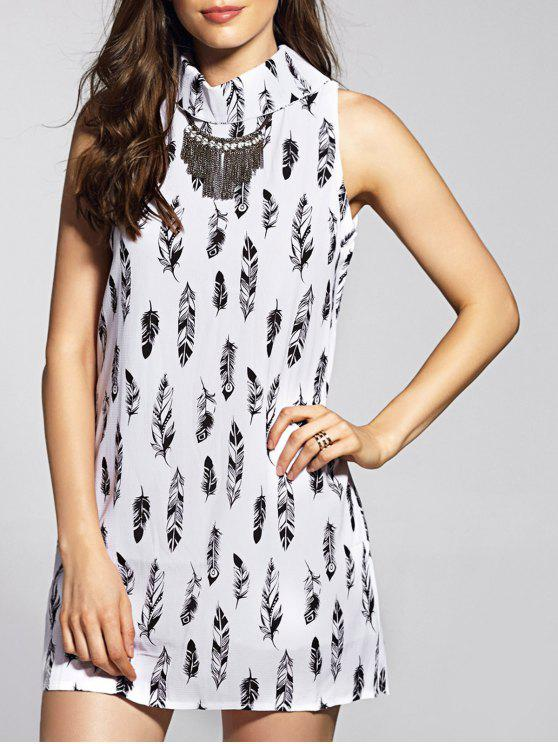 women's Sleeveless Feather Print Dress - WHITE L