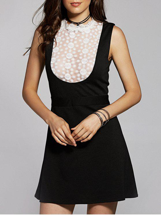 outfit Lace Spliced Stand Neck Sleeveless Dress - BLACK 2XL