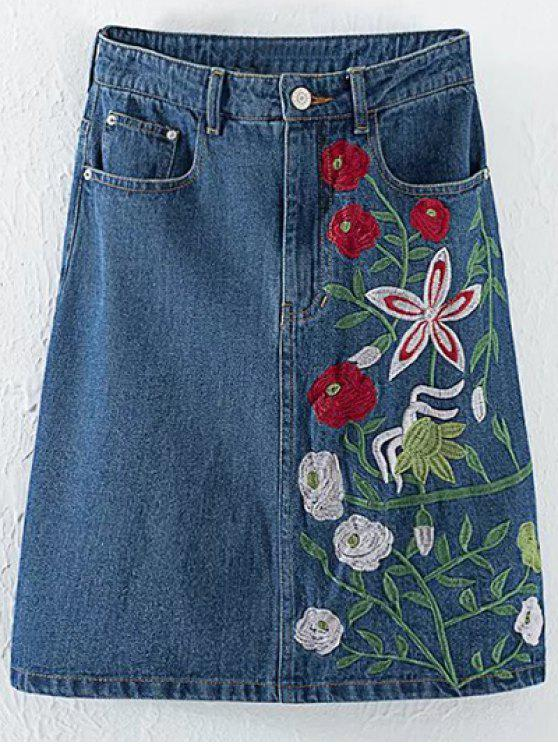 ladies Floral Embroidery High Waisted Denim Skirt - DENIM BLUE M