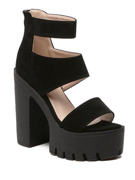 31% OFF  2019 Suede Platform Chunky Heel Sandals In BLACK