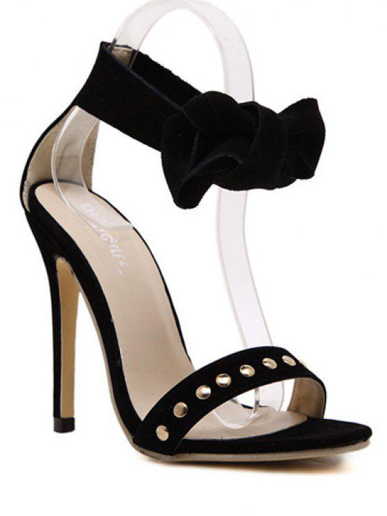 fancy Bow Black Stiletto Heel Sandals - BLACK 38