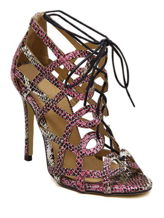 sale Snake Print Hollow Out Lace-Up Sandals - COLORMIX 38
