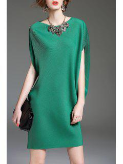 Batwing Sleeve Shift Mini Dress - Green