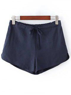 Pure Color Straight Leg Drawstring Shorts - Deep Blue