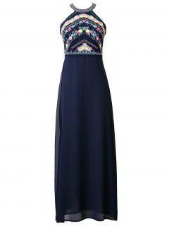 Floral Embroidered Round Neck Maxi Dress - Deep Blue S