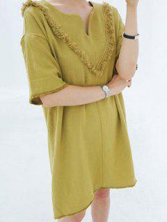 Tassel Back Straight Dress - Ginger