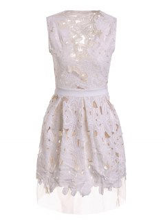 Plunging Neck Floral Pattern Openwork Sleeveless Dress - White M