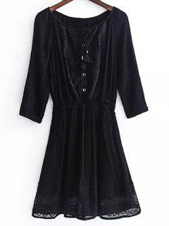 Lace Splice 3/4 Sleeve Black Dress - Black L