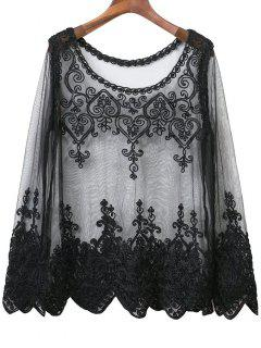 See-Through Embroidery Long Sleeve Dress - Black S