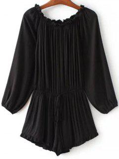 Off The Shoulder Ruffles Splicing Romper - Black S