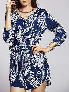Frente Botón Vestido Azul Impreso - Azul 2xl