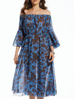Imprimir Del Hombro 3/4 Vestido Irregular Del Dobladillo - Azul Purpúreo S
