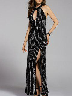Striped Stand Neck Cut Out Backless Maxi Dress - Black S