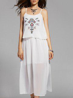 Ethnic Embroidery Cami White Maxi Dress - White S
