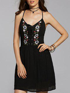 Flower Embroidery Cami A Line Dress - Black S