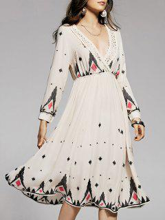 Lace Spliced Embroidery Plunging Neck Long Sleeve Dress - Off-white S