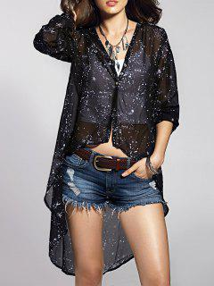 Printed High-Low Round Neck Long Sleeve Blouse - Black S