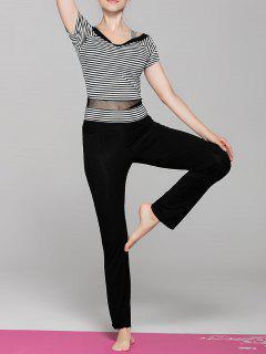Striped Sport T-Shirt And Yoga Pants - Black M