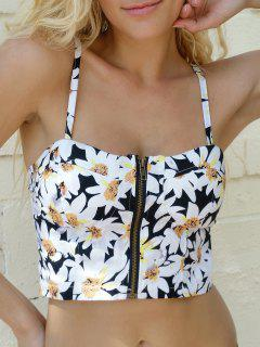 Flower Print Spaghetti Straps Zipper Tank Top - Black