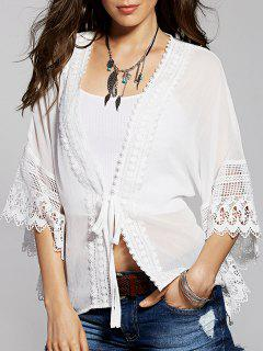 Lace Spliced Batwing Sleeve Kimono Blouse - White 2xl