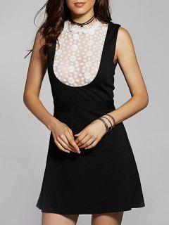 Lace Spliced Stand Neck Sleeveless Dress - Black Xs