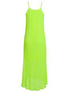Spaghetti Strap Solid Color Maxi Dress - Neon Green