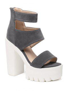 Suede Platform Chunky Heel Sandals - Gray 38