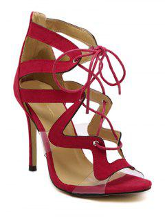 Lace-Up Suede Stiletto Heel Sandals - Red 38