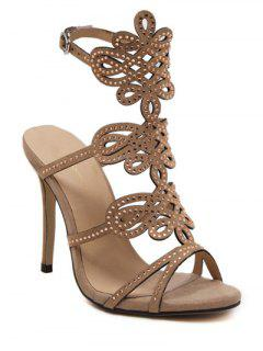 Hollow Out Rhinestone Stiletto Heel Sandals - Khaki 38