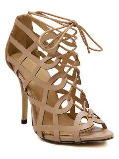 Solid Color Hollow Out Lace-Up Sandals - Nude 38