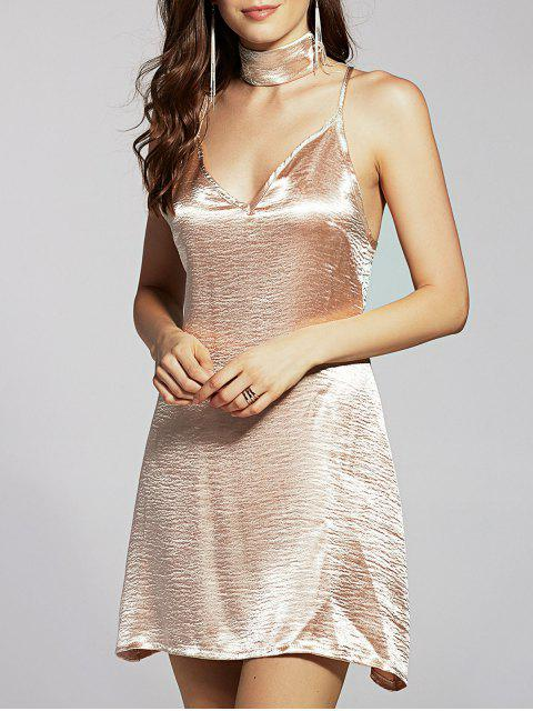 women's Pure Color Cami Satin Dress - GOLDEN S Mobile