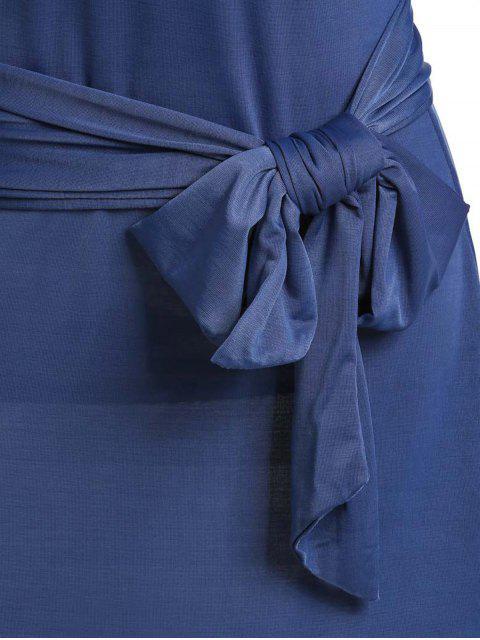 shops Hit Color Stand Neck 3/4 Sleeve Dress - PURPLISH BLUE S Mobile
